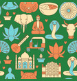 india seamless pattern in colored line style vector image vector image
