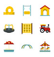 modern children playground icons set flat style vector image vector image