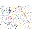 Musical notes colored background vector image vector image