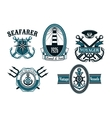 Nautical seafarer voyager and anchors symbols vector image vector image