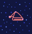 neon santa hat icon in line style vector image