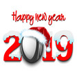 new year numbers 2019 and rugby ball vector image vector image