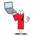 Number One Character Holding A Laptop vector image vector image