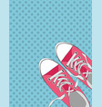 pair shoes on color background in pop art style vector image vector image