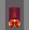 sale with discount caption on tag with red bow vector image vector image