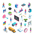 school and education isometric icon set 02 vector image vector image