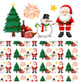 seamless background design with santa and snowman vector image vector image