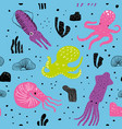 seamless marine pattern with cute octopus vector image