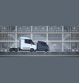 semi trucks industrial warehouse interior delivery vector image