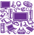 set of computer and electronics equipment vector image vector image
