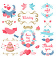 set of various wedding frames and decorations vector image