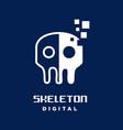 skeleton digital logo vector image vector image