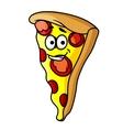 Slice of happy cheesy pepperoni pizza vector image