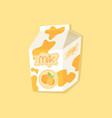 spotted orange flavor milk carton packaging vector image vector image