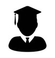 student icon graduation with mortar board for vector image