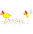 template for bag with funny bird vector image vector image