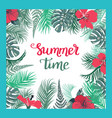 tropical background with summer time text vector image vector image