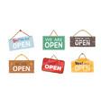 welcome notice phrase hanging door front signboard vector image