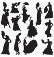 woman-dancing-flamenco silhouettes vector image