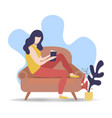 woman reading book on relaxing sofa at home vector image