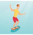 young caucasian man riding skateboard vector image vector image