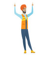 young hindu builder standing with raised arms up vector image vector image