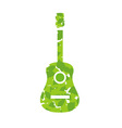 Guitar with green leaves vector image