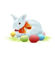 White easter bunny sitting on green grass Bunny vector image