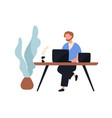 adorable man sitting at desk and working on laptop vector image