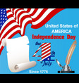 america independence day greeting card with flag vector image vector image