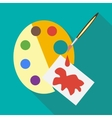Art palette wirh brush and paper icon flat style vector image