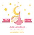 baby girl sleeping on a moon - shower card
