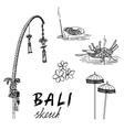 Bali sketch Penjor for Galungan ceremonial vector image vector image