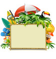 beach accessories with bamboo frame vector image