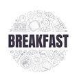 breakfast banner template morning food dishes of vector image vector image