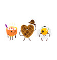 breakfast characters - oatmeal waffle fried egg vector image