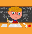 cartoon genius with black board vector image