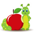 caterpillar worm with red apple funny baby vector image vector image