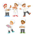 chef are holding their bread and cookies vector image vector image