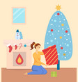 christmas celebration at home woman with presents vector image vector image