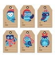 christmas labels with owls vector image vector image
