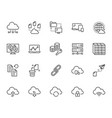 cloud data storage line icons set database vector image vector image