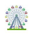colorful ferris wheel on white background vector image vector image