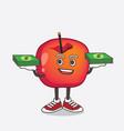 crab apple cartoon mascot character with money vector image vector image