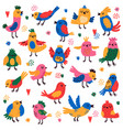 cute birds hand drawn colorful little birds vector image vector image
