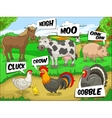 Farm animals talks sound cartoon vector image vector image