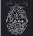 floral easter egg on black background vector image
