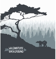 Forest pine tree bear silhouette drawn vector image vector image
