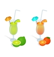 Fresh juices set Design elements for cafe and vector image vector image