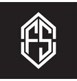 fs logo monogram with hexagon shape and outline vector image vector image